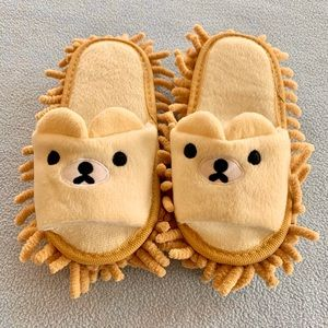 🐻 NWOT Chenille Bear Slippers/Floor Sweepers 🐻